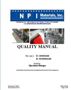 Quality Manual Cover Page